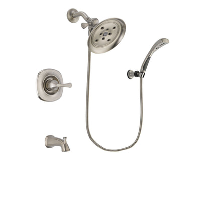 Delta Addison Stainless Steel Finish Tub and Shower Faucet System Package with Large Rain Showerhead and Wall Mounted Handshower Includes Rough-in Valve and Tub Spout DSP1869V
