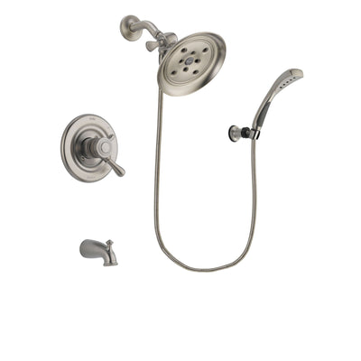 Delta Leland Stainless Steel Finish Dual Control Tub and Shower Faucet System Package with Large Rain Showerhead and Wall Mounted Handshower Includes Rough-in Valve and Tub Spout DSP1879V