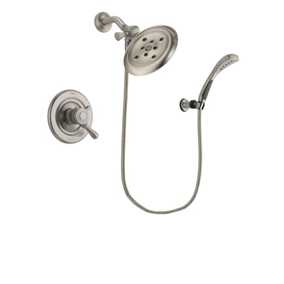 Delta Leland Stainless Steel Finish Dual Control Shower Faucet System Package with Large Rain Showerhead and Wall Mounted Handshower Includes Rough-in Valve DSP1880V
