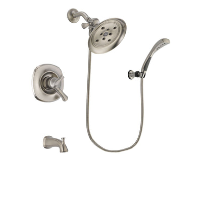 Delta Addison Stainless Steel Finish Dual Control Tub and Shower Faucet System Package with Large Rain Showerhead and Wall Mounted Handshower Includes Rough-in Valve and Tub Spout DSP1881V