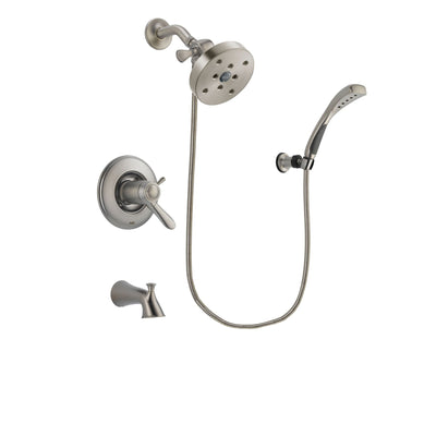 Delta Lahara Stainless Steel Finish Thermostatic Tub and Shower Faucet System Package with 5-1/2 inch Shower Head and Wall Mounted Handshower Includes Rough-in Valve and Tub Spout DSP1887V