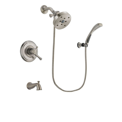 Delta Cassidy Stainless Steel Finish Dual Control Tub and Shower Faucet System Package with 5-1/2 inch Shower Head and Wall Mounted Handshower Includes Rough-in Valve and Tub Spout DSP1919V