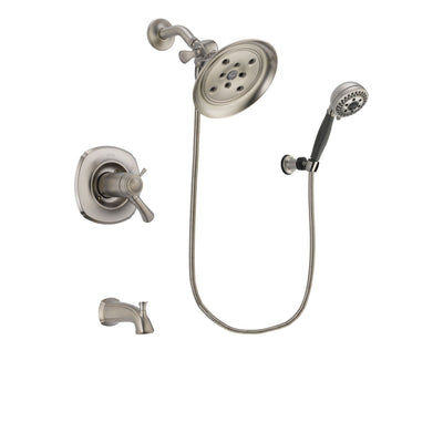 Delta Addison Stainless Steel Finish Thermostatic Tub and Shower Faucet System Package with Large Rain Showerhead and 5-Setting Wall Mount Personal Handheld Shower Includes Rough-in Valve and Tub Spout DSP1995V