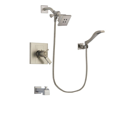 Delta Arzo Stainless Steel Finish Thermostatic Tub and Shower Faucet System Package with Square Showerhead and Modern Wall Mount Handheld Shower Spray Includes Rough-in Valve and Tub Spout DSP2061V
