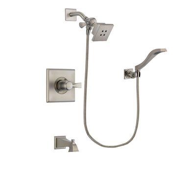 Delta Dryden Stainless Steel Finish Tub and Shower Faucet System Package with Square Showerhead and Modern Wall Mount Handheld Shower Spray Includes Rough-in Valve and Tub Spout DSP2063V