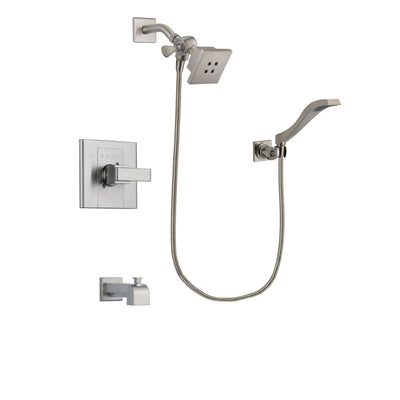 Delta Arzo Stainless Steel Finish Tub and Shower Faucet System Package with Square Showerhead and Modern Wall Mount Handheld Shower Spray Includes Rough-in Valve and Tub Spout DSP2067V