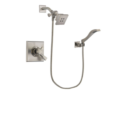 Delta Dryden Stainless Steel Finish Dual Control Shower Faucet System Package with Square Showerhead and Modern Wall Mount Handheld Shower Spray Includes Rough-in Valve DSP2070V