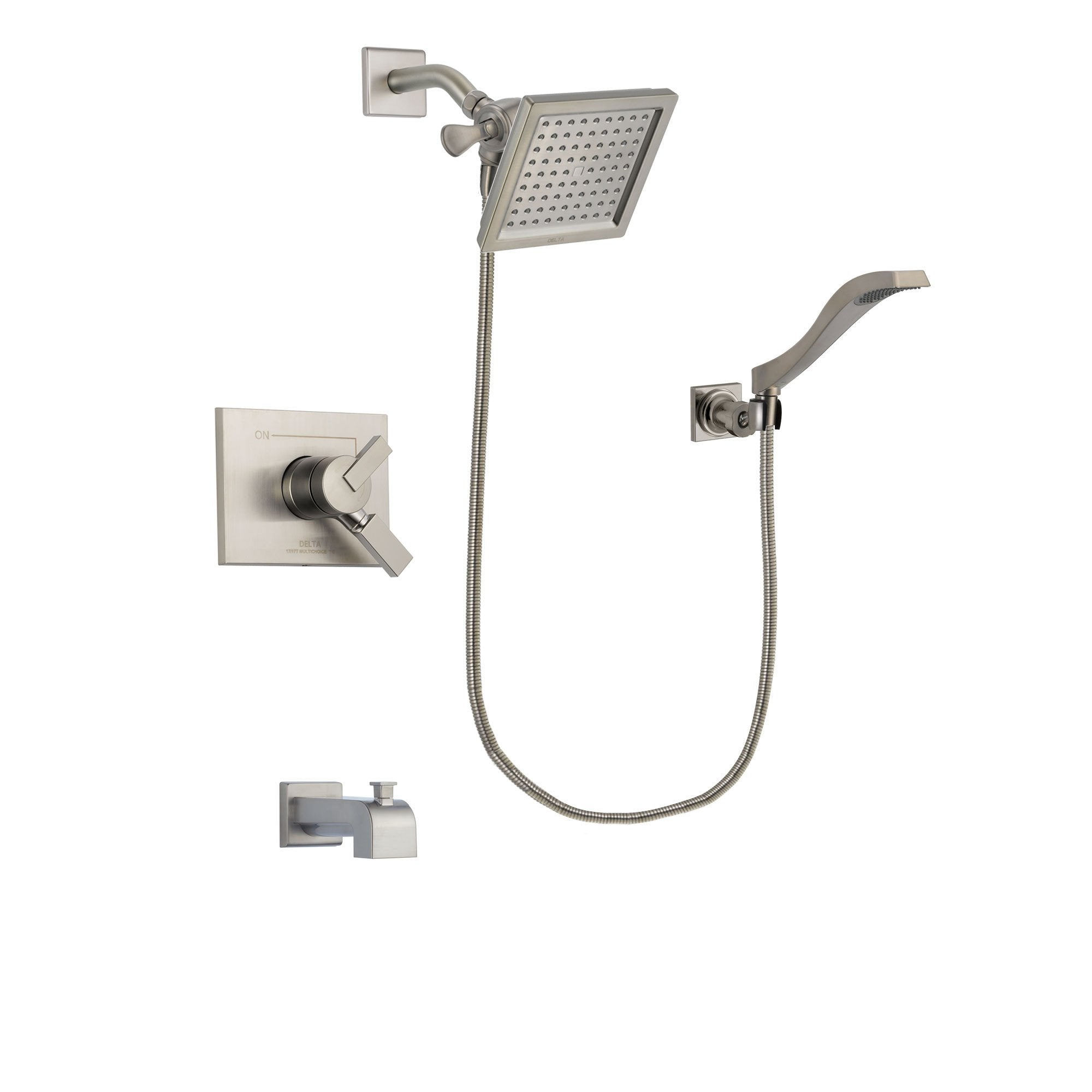Delta Vero Stainless Steel Finish Tub and Shower System with Hand Spray DSP2089V