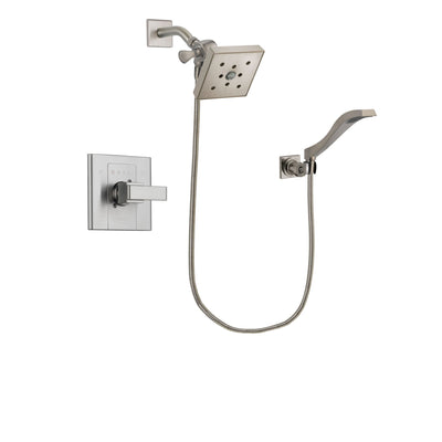Delta Arzo Stainless Steel Finish Shower Faucet System Package with Square Shower Head and Modern Wall Mount Handheld Shower Spray Includes Rough-in Valve DSP2104V