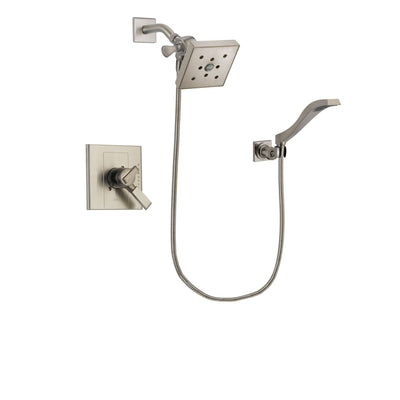 Delta Arzo Stainless Steel Finish Dual Control Shower Faucet System Package with Square Shower Head and Modern Wall Mount Handheld Shower Spray Includes Rough-in Valve DSP2110V