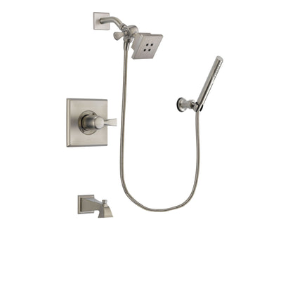 Delta Dryden Stainless Steel Finish Tub and Shower Faucet System Package with Square Showerhead and Modern Handheld Shower Spray Includes Rough-in Valve and Tub Spout DSP2117V