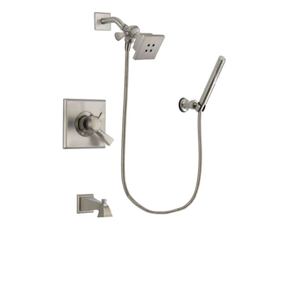 Delta Dryden Stainless Steel Finish Dual Control Tub and Shower Faucet System Package with Square Showerhead and Modern Handheld Shower Spray Includes Rough-in Valve and Tub Spout DSP2123V
