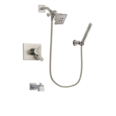 Delta Vero Stainless Steel Finish Dual Control Tub and Shower Faucet System Package with Square Showerhead and Modern Handheld Shower Spray Includes Rough-in Valve and Tub Spout DSP2125V