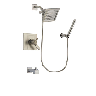 Delta Arzo Stainless Steel Finish Thermostatic Tub and Shower Faucet System Package with 6.5-inch Square Rain Showerhead and Modern Handheld Shower Spray Includes Rough-in Valve and Tub Spout DSP2133V