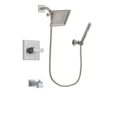 Delta Arzo Stainless Steel Finish Tub and Shower Faucet System Package with 6.5-inch Square Rain Showerhead and Modern Handheld Shower Spray Includes Rough-in Valve and Tub Spout DSP2139V