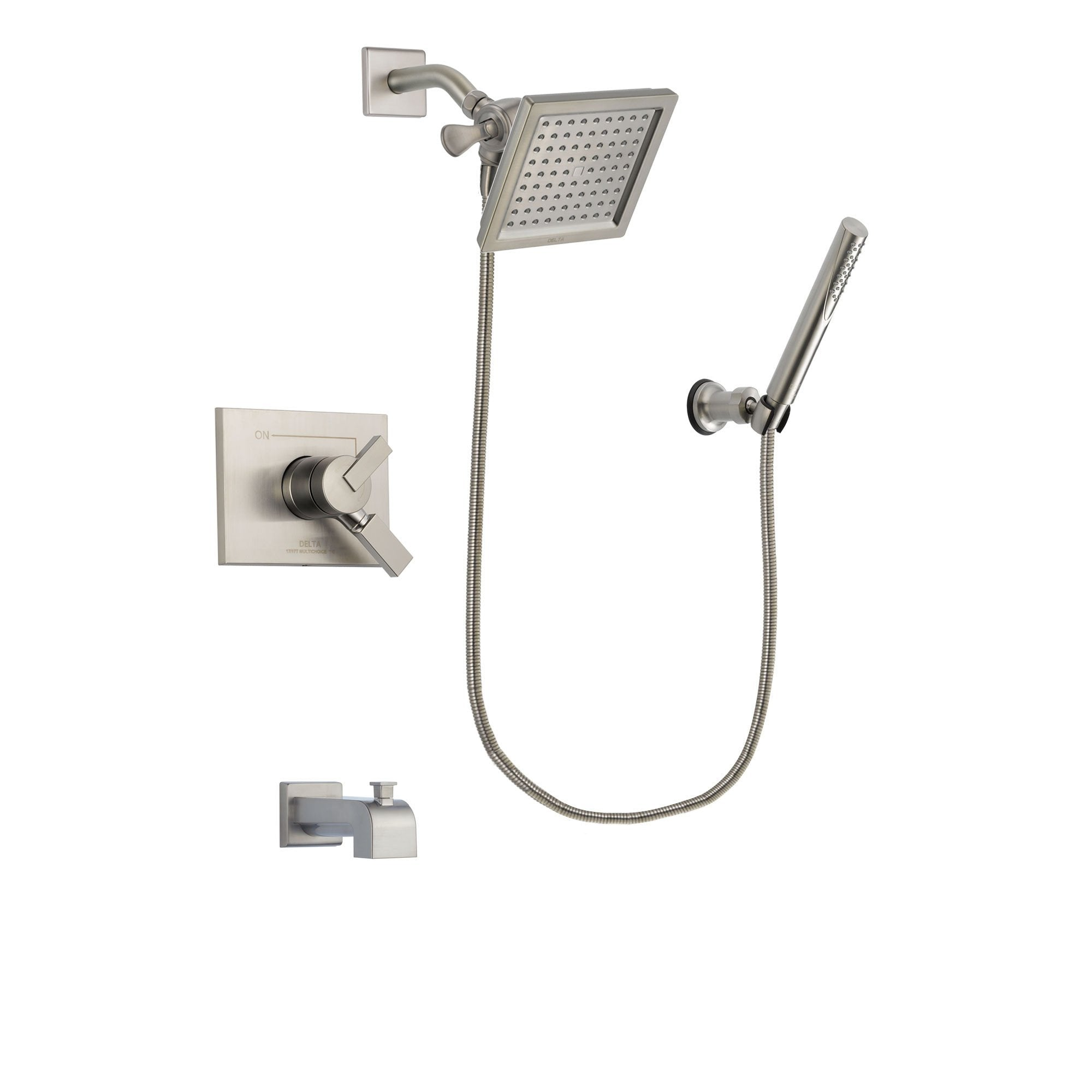 Delta Vero Stainless Steel Finish Tub and Shower System with Hand Spray DSP2143V