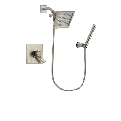Delta Arzo Stainless Steel Finish Dual Control Shower Faucet System Package with 6.5-inch Square Rain Showerhead and Modern Handheld Shower Spray Includes Rough-in Valve DSP2146V
