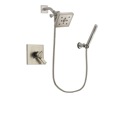 Delta Arzo Stainless Steel Finish Dual Control Shower Faucet System Package with Square Shower Head and Modern Handheld Shower Spray Includes Rough-in Valve DSP2164V