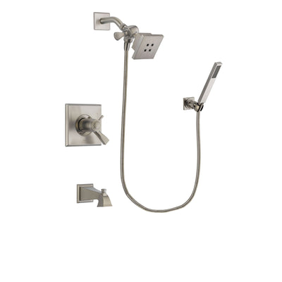 Delta Dryden Stainless Steel Finish Thermostatic Tub and Shower Faucet System Package with Square Showerhead and Wall-Mount Handheld Shower Stick Includes Rough-in Valve and Tub Spout DSP2165V