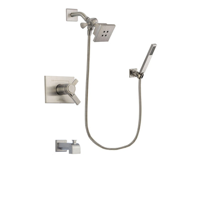 Delta Vero Stainless Steel Finish Thermostatic Tub and Shower Faucet System Package with Square Showerhead and Wall-Mount Handheld Shower Stick Includes Rough-in Valve and Tub Spout DSP2167V