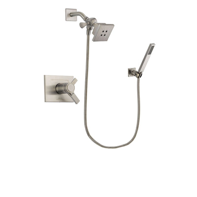 Delta Vero Stainless Steel Finish Thermostatic Shower Faucet System Package with Square Showerhead and Wall-Mount Handheld Shower Stick Includes Rough-in Valve DSP2168V