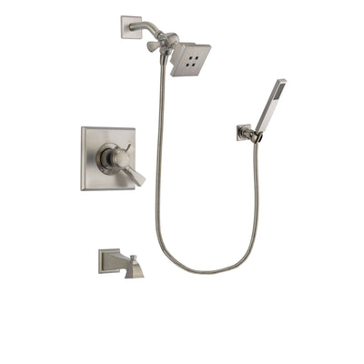 Delta Dryden Stainless Steel Finish Dual Control Tub and Shower Faucet System Package with Square Showerhead and Wall-Mount Handheld Shower Stick Includes Rough-in Valve and Tub Spout DSP2177V