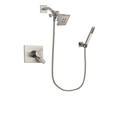 Delta Vero Stainless Steel Finish Dual Control Shower Faucet System Package with Square Showerhead and Wall-Mount Handheld Shower Stick Includes Rough-in Valve DSP2180V