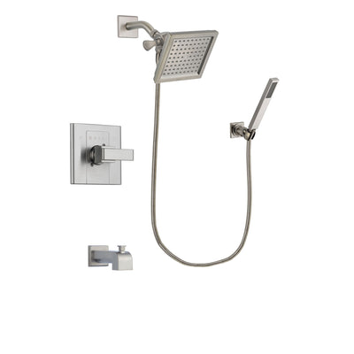 Delta Arzo Stainless Steel Finish Tub and Shower Faucet System Package with 6.5-inch Square Rain Showerhead and Wall-Mount Handheld Shower Stick Includes Rough-in Valve and Tub Spout DSP2193V