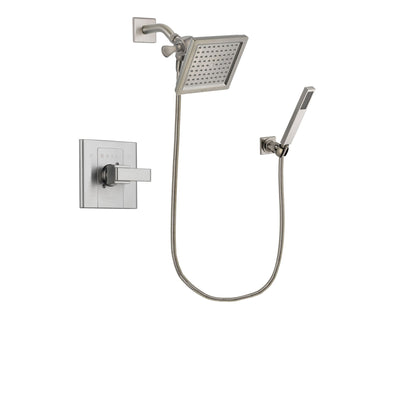 Delta Arzo Stainless Steel Finish Shower Faucet System Package with 6.5-inch Square Rain Showerhead and Wall-Mount Handheld Shower Stick Includes Rough-in Valve DSP2194V