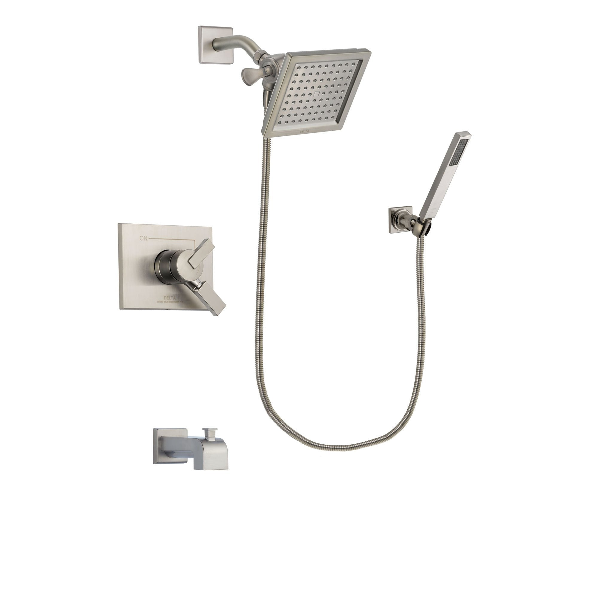 Delta Vero Stainless Steel Finish Tub and Shower System with Hand Spray DSP2197V