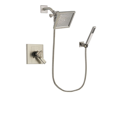 Delta Arzo Stainless Steel Finish Dual Control Shower Faucet System Package with 6.5-inch Square Rain Showerhead and Wall-Mount Handheld Shower Stick Includes Rough-in Valve DSP2200V