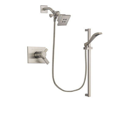 Delta Vero Stainless Steel Finish Thermostatic Shower Faucet System Package with Square Showerhead and Handheld Shower with Slide Bar Includes Rough-in Valve DSP2222V