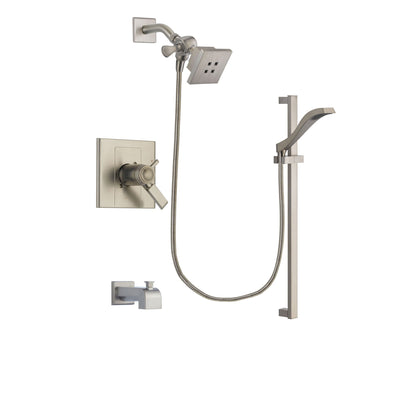 Delta Arzo Stainless Steel Finish Thermostatic Tub and Shower Faucet System Package with Square Showerhead and Handheld Shower with Slide Bar Includes Rough-in Valve and Tub Spout DSP2223V