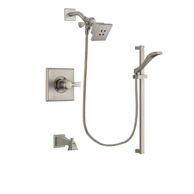 Delta Dryden Stainless Steel Finish Tub and Shower Faucet System Package with Square Showerhead and Handheld Shower with Slide Bar Includes Rough-in Valve and Tub Spout DSP2225V