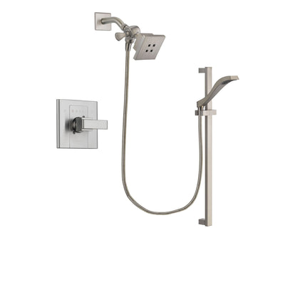Delta Arzo Stainless Steel Finish Shower Faucet System Package with Square Showerhead and Handheld Shower with Slide Bar Includes Rough-in Valve DSP2230V