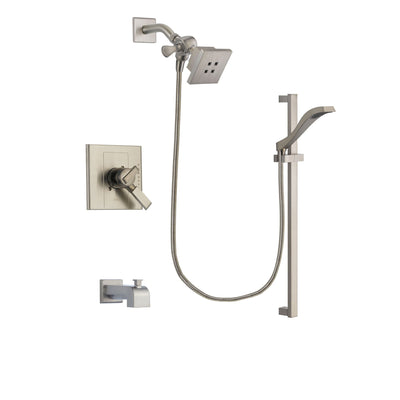 Delta Arzo Stainless Steel Finish Dual Control Tub and Shower Faucet System Package with Square Showerhead and Handheld Shower with Slide Bar Includes Rough-in Valve and Tub Spout DSP2235V