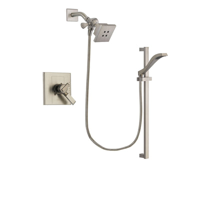 Delta Arzo Stainless Steel Finish Dual Control Shower Faucet System Package with Square Showerhead and Handheld Shower with Slide Bar Includes Rough-in Valve DSP2236V