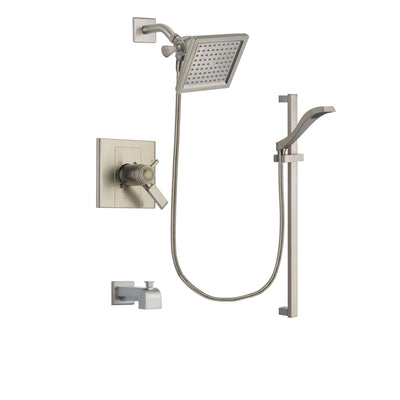 Delta Arzo Stainless Steel Finish Thermostatic Tub and Shower Faucet System Package with 6.5-inch Square Rain Showerhead and Handheld Shower with Slide Bar Includes Rough-in Valve and Tub Spout DSP2241V
