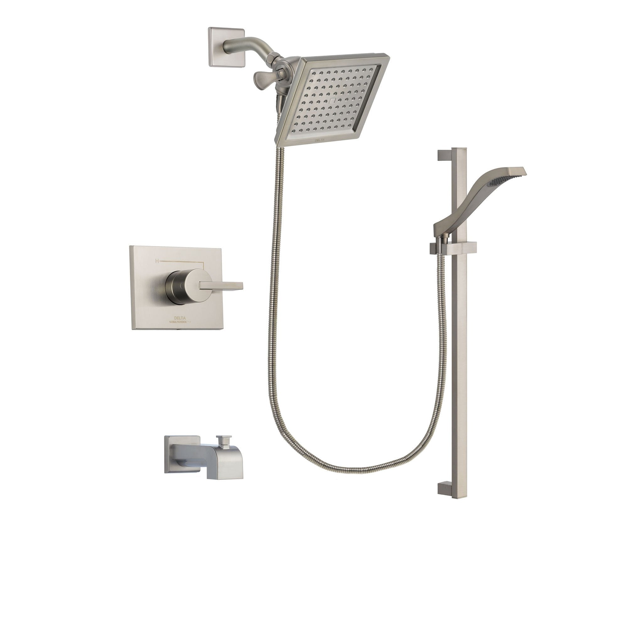 Delta Vero Stainless Steel Finish Tub and Shower System with Hand Spray DSP2245V