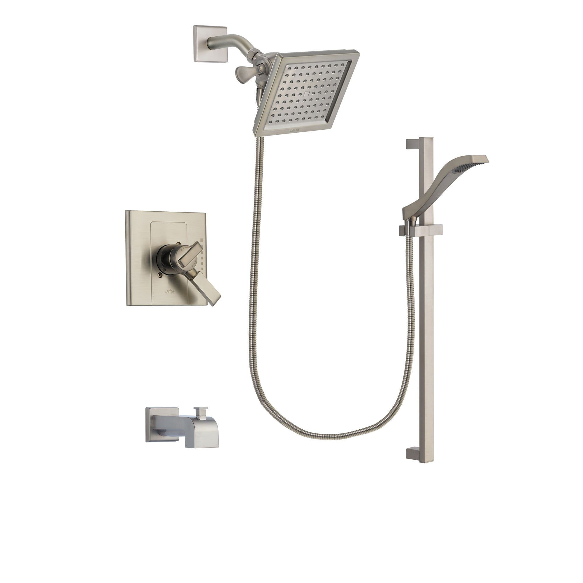 Delta Arzo Stainless Steel Finish Dual Control Tub And Shower Faucet System Package With 6 5 Inch Square Rain Showerhead And Handheld Shower With