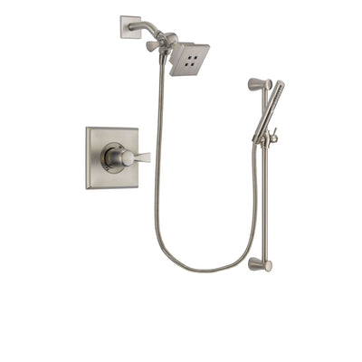 Delta Dryden Stainless Steel Finish Shower Faucet System Package with Square Showerhead and Handheld Shower Spray with Slide Bar Includes Rough-in Valve DSP2280V