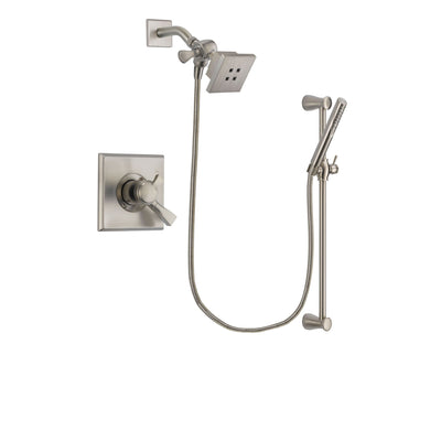 Delta Dryden Stainless Steel Finish Dual Control Shower Faucet System Package with Square Showerhead and Handheld Shower Spray with Slide Bar Includes Rough-in Valve DSP2286V