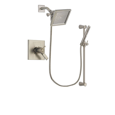 Delta Arzo Stainless Steel Finish Thermostatic Shower Faucet System Package with 6.5-inch Square Rain Showerhead and Handheld Shower Spray with Slide Bar Includes Rough-in Valve DSP2296V