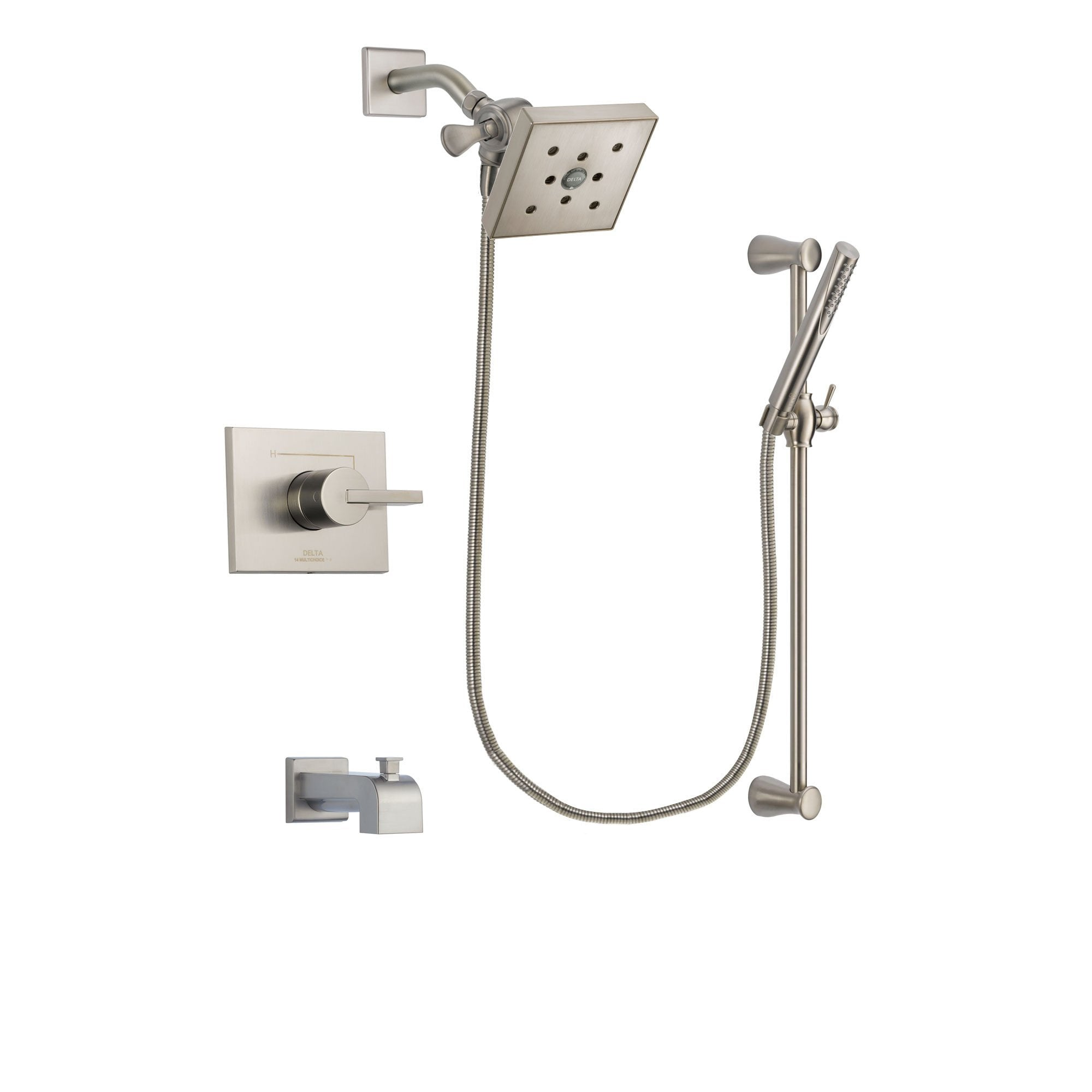 Delta Vero Stainless Steel Finish Tub and Shower System with Hand Spray DSP2317V