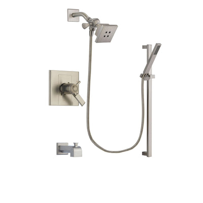 Delta Arzo Stainless Steel Finish Thermostatic Tub and Shower Faucet System Package with Square Showerhead and Modern Personal Hand Shower with Slide Bar Includes Rough-in Valve and Tub Spout DSP2331V