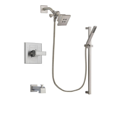Delta Arzo Stainless Steel Finish Tub and Shower Faucet System Package with Square Showerhead and Modern Personal Hand Shower with Slide Bar Includes Rough-in Valve and Tub Spout DSP2337V
