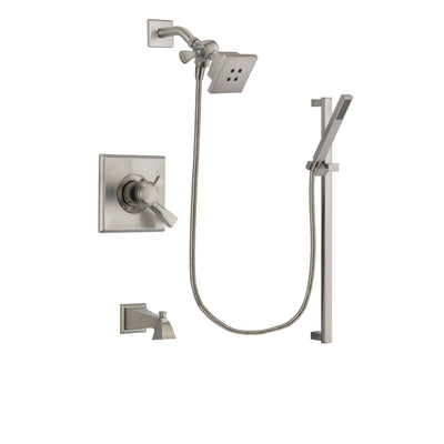 Delta Dryden Stainless Steel Finish Dual Control Tub and Shower Faucet System Package with Square Showerhead and Modern Personal Hand Shower with Slide Bar Includes Rough-in Valve and Tub Spout DSP2339V