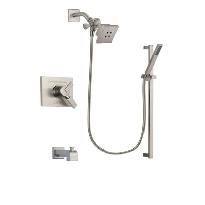Delta Vero Stainless Steel Finish Dual Control Tub and Shower Faucet System Package with Square Showerhead and Modern Personal Hand Shower with Slide Bar Includes Rough-in Valve and Tub Spout DSP2341V