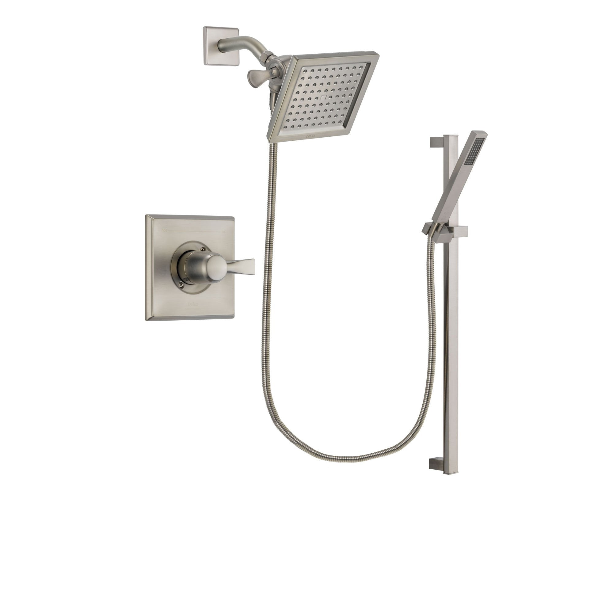 Delta Dryden Stainless Steel Finish Shower Faucet System Package With  6.5 Inch Square Rain Showerhead