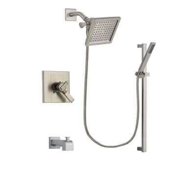 Delta Arzo Stainless Steel Finish Dual Control Tub and Shower Faucet System Package with 6.5-inch Square Rain Showerhead and Modern Personal Hand Shower with Slide Bar Includes Rough-in Valve and Tub Spout DSP2361V